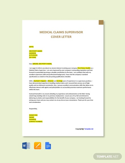 Medical Claims Supervisor Cover Letter Template