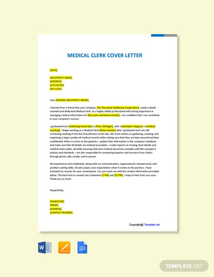 Free Medical Clerk Cover Letter Template