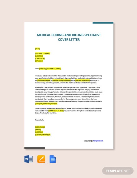 Free Medical Coding and Billing Specialist Cover Letter Template