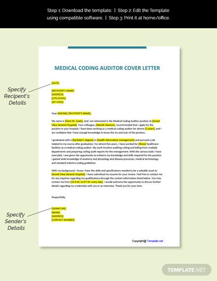 Medical Coding Auditor Cover Letter Template