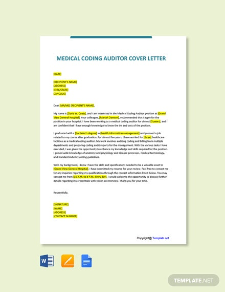 Free Medical Coding Auditor Cover Letter Template