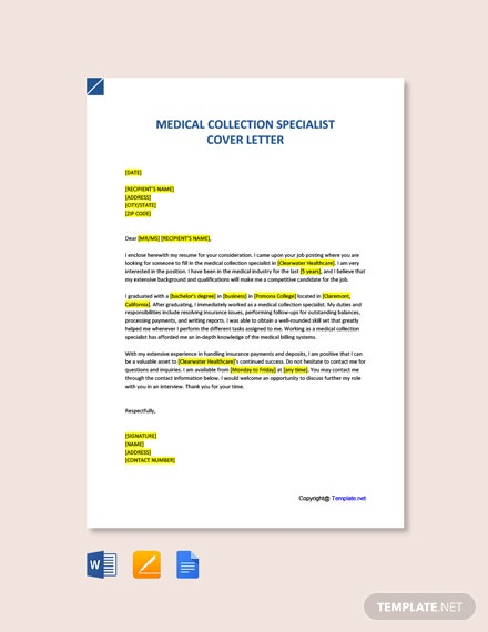 Free Medical Collection Specialist Cover Letter Template