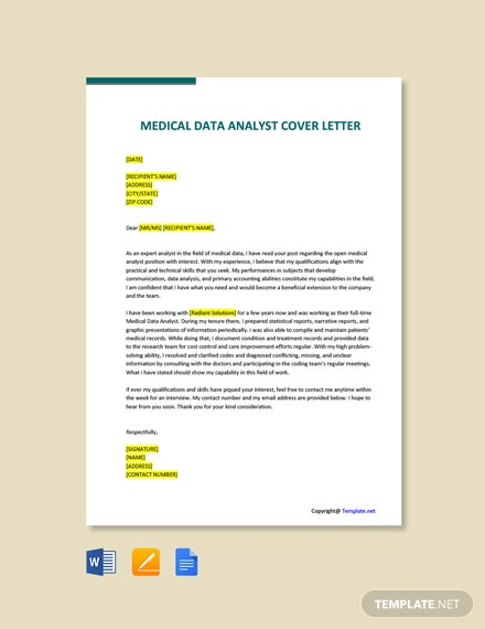 Free Medical Data Analyst Cover Letter Template