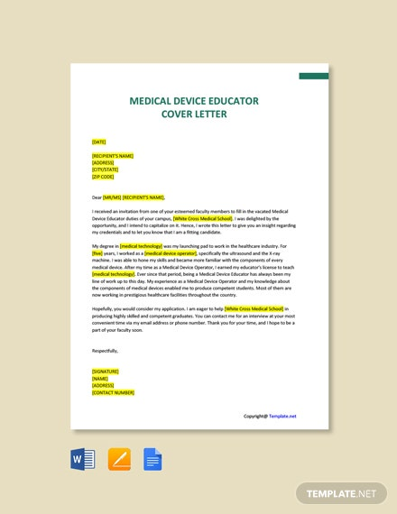 Free Medical Device Educator Cover Letter Template