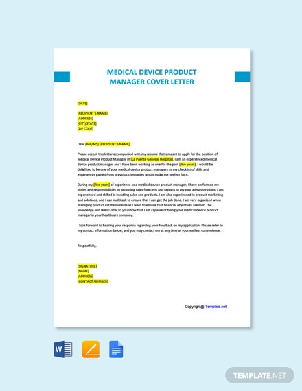 Free Medical Device Product Manager Cover Letter Template