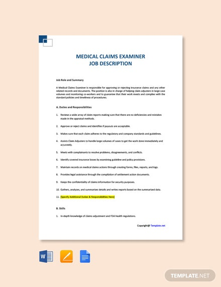 Free Medical Claims Examiner Job Ad and Description Template