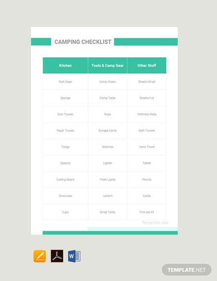 Free Camping Checklist Template