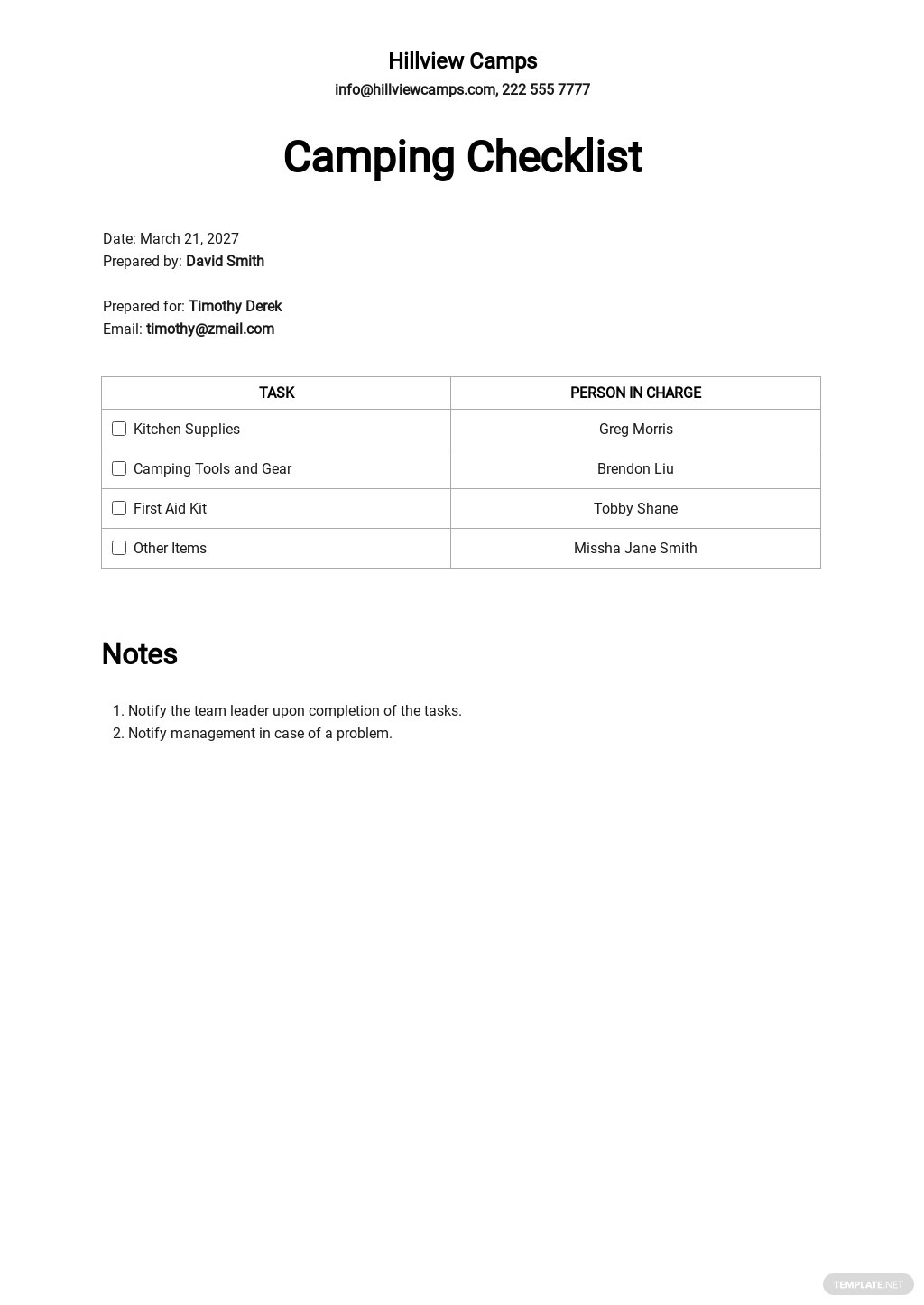 Free Camping Checklist Template.jpe