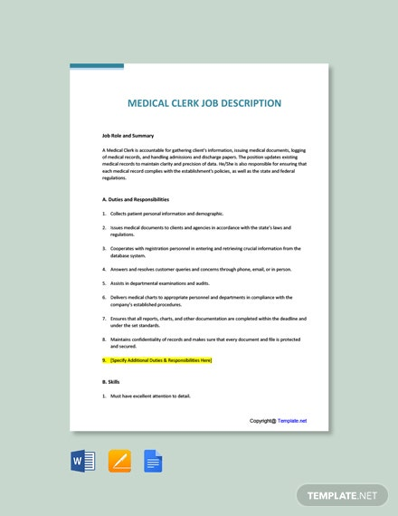Free Medical Clerk Job Ad and Description Template
