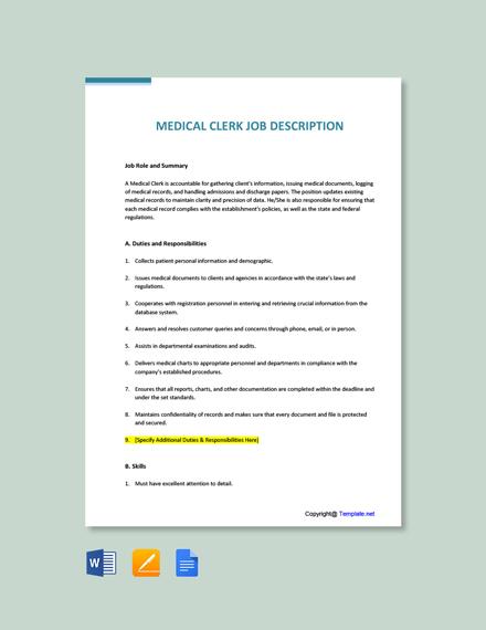 Medical Clerk Job Ad and Description Template