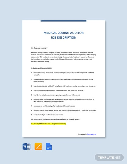 Free Medical Coding Auditor Job Ad and Description Template