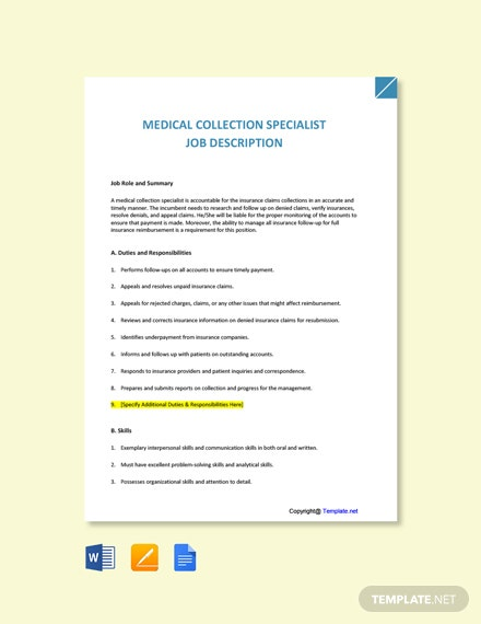 Free Medical Collection Specialist Job Ad and Description Template