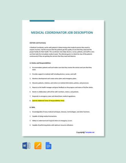Free Medical Coordinator Job Ad and Description Template