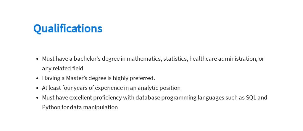 Free Medical Data Analyst Job Ad/Description Template 5.jpe