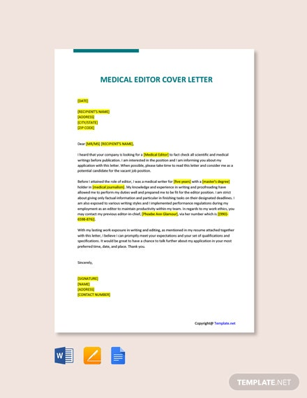 Free Medical Editor Cover Letter Template