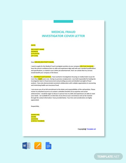 Free Medical Fraud Investigator Cover Letter Template