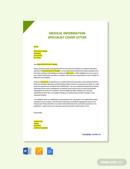 Free Medical Information Specialist Cover Letter Template