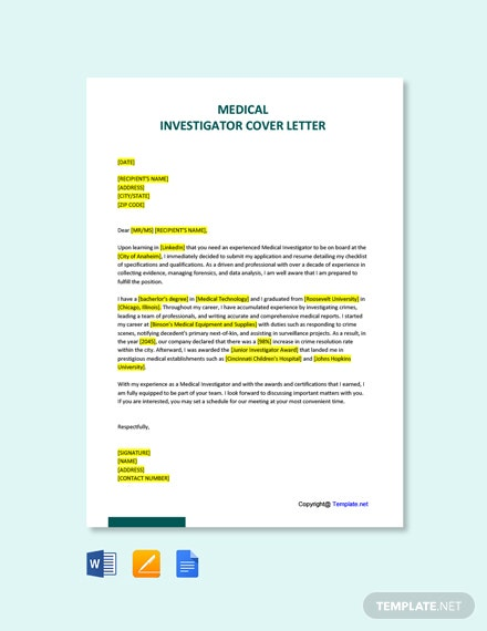 Free Medical Investigator Cover Letter Template