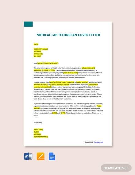 Free Medical Lab Technician Cover Letter Template