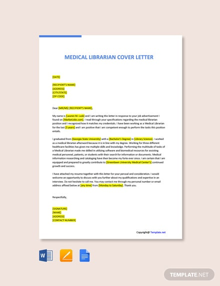 Medical Librarian Cover Letter Template