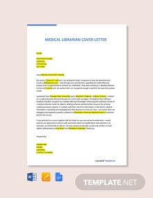 Free Medical Librarian Cover Letter Template