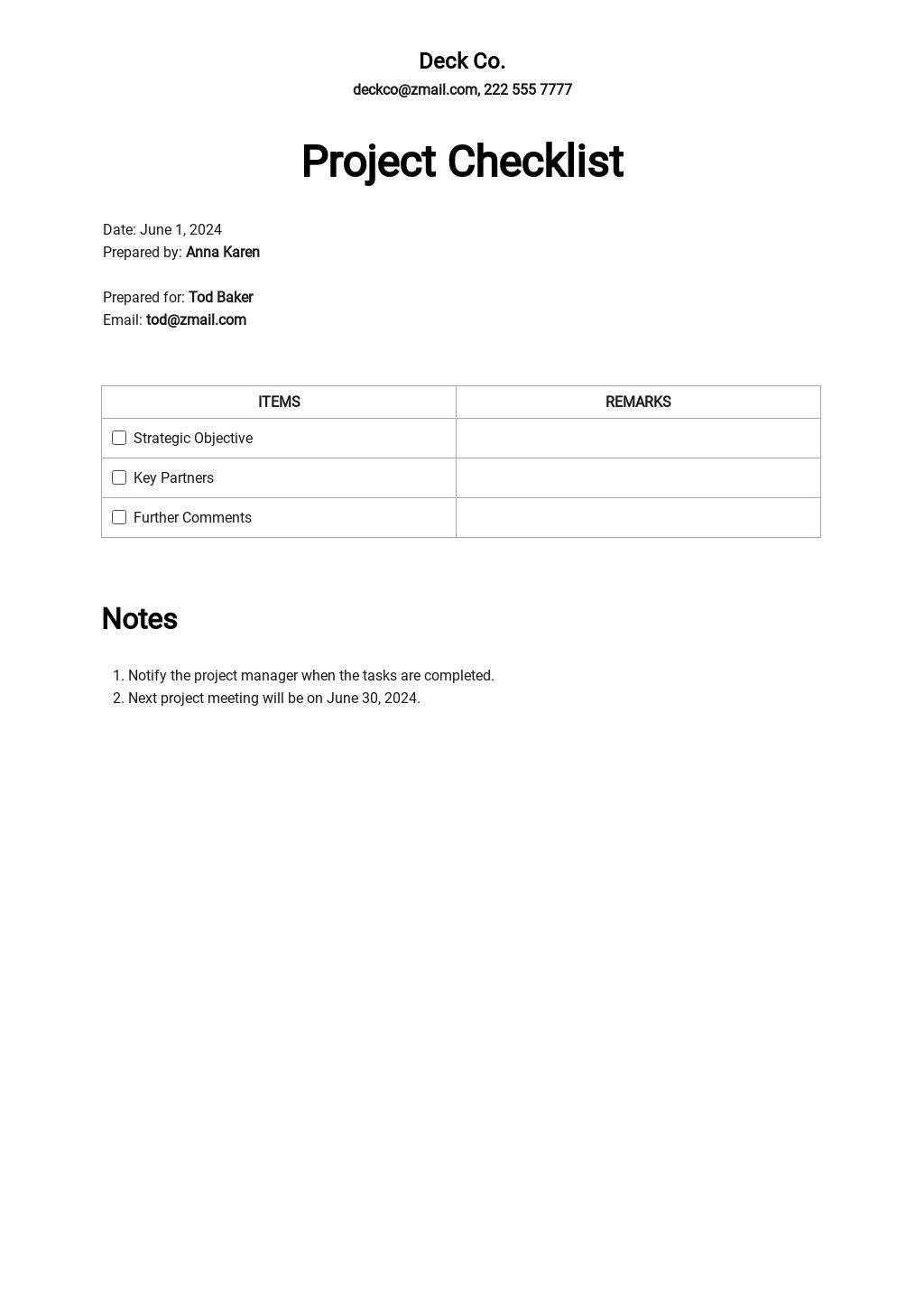 Free Project Checklist Template.jpe
