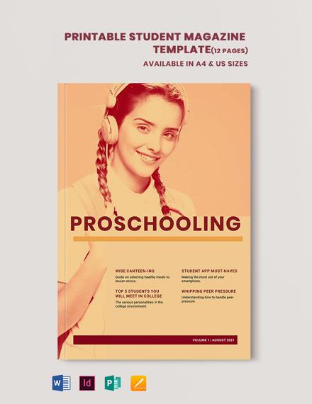 Printable Student Magazine Template