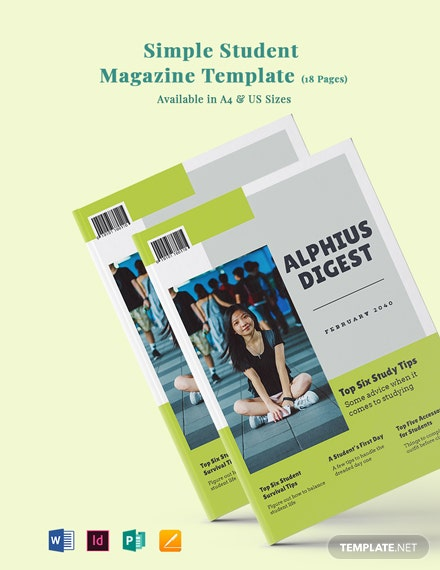 Free Simple Student Magazine Template