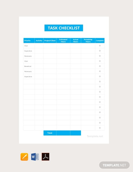 Free Task Checklist Template