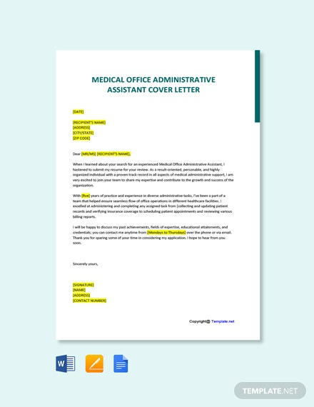 Free Medical Office Administrative Assistant Cover Letter Template