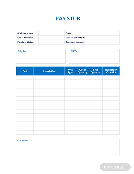 basic pay stub template  download 239  sheets in word