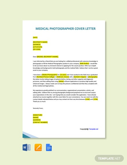 Free Medical Photographer Cover Letter Template