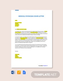 Free Medical Physician Cover Letter Template