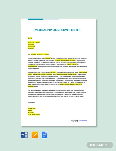 Medical Physicist Cover Letter Template