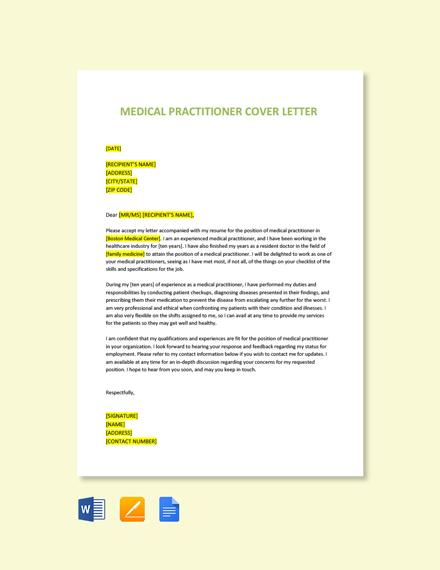 Medical Practitioner Cover Letter Template