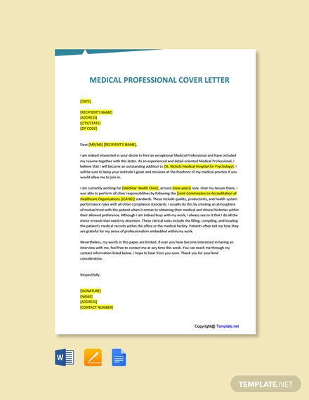 Free Medical Professional Cover Letter Template