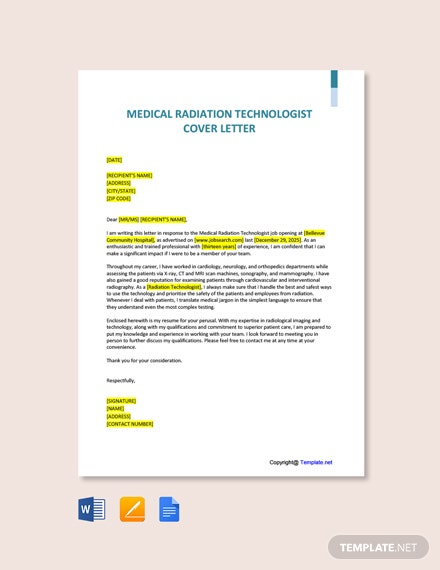 Free Medical Radiation Technologist Cover Letter Template
