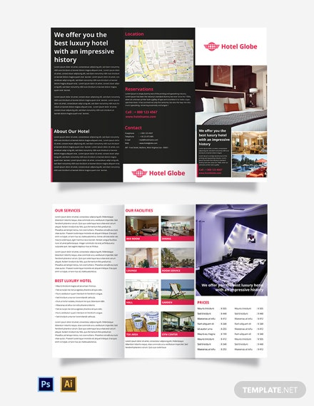 Free Modern Hotel Tri-Fold Brochure Template