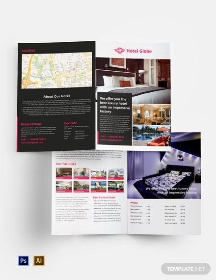 Free Modern Hotel Bi-Fold Brochure Template