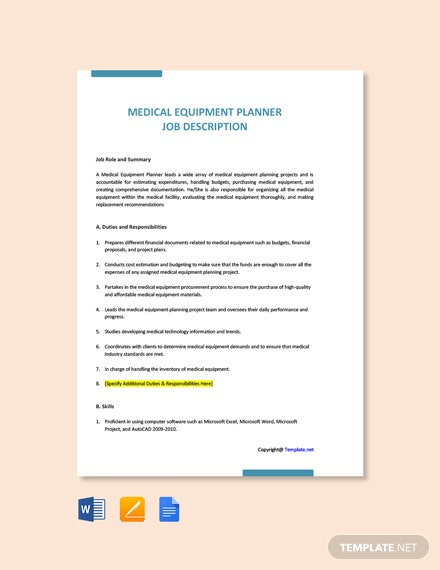 Free Medical Equipment Planner Job Ad/Description Template