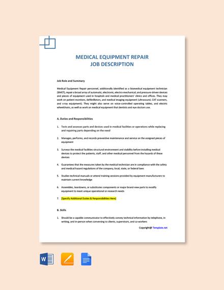 Free Medical Equipment Repair Job Description Template