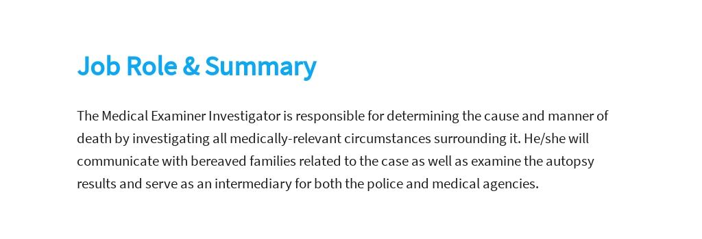 Free Medical Examiner Investigator Job Description Template 2.jpe