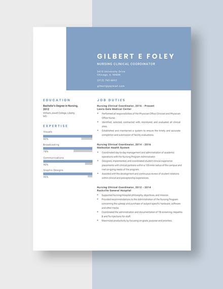 Nursing Clinical Coordinator Resume Template