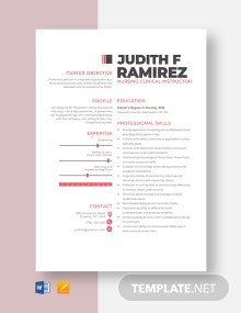 Nursing Clinical Instructor Resume Template