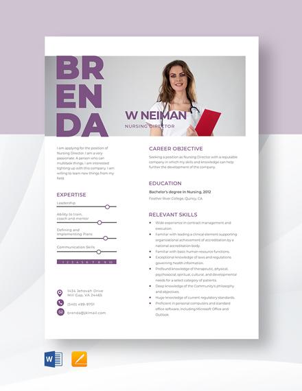 Nursing Director Resume Template