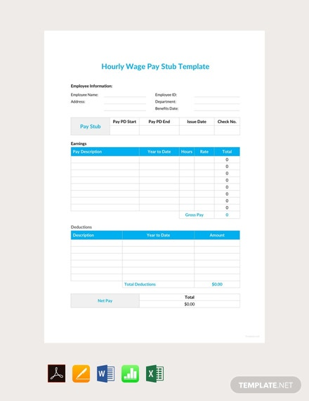 Free Hourly Wage Pay Stub Template