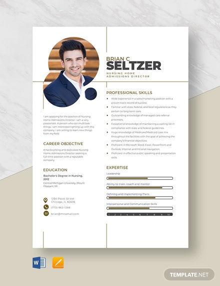 Nursing Home Admissions Director Resume Template