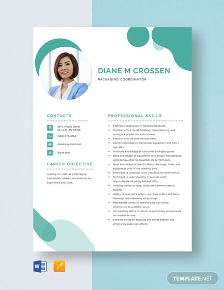 Packaging Coordinator Resume Template