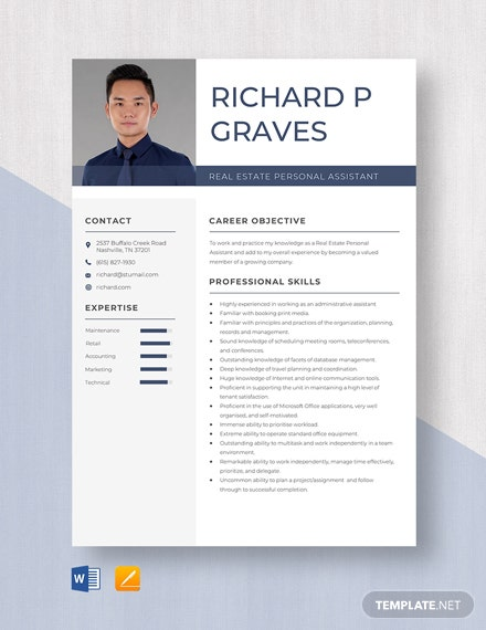 Real Estate Personal Assistant Resume Template
