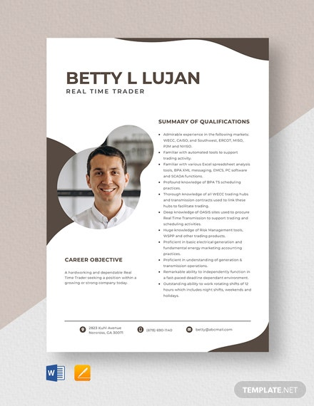 Real Time Trader Resume Template